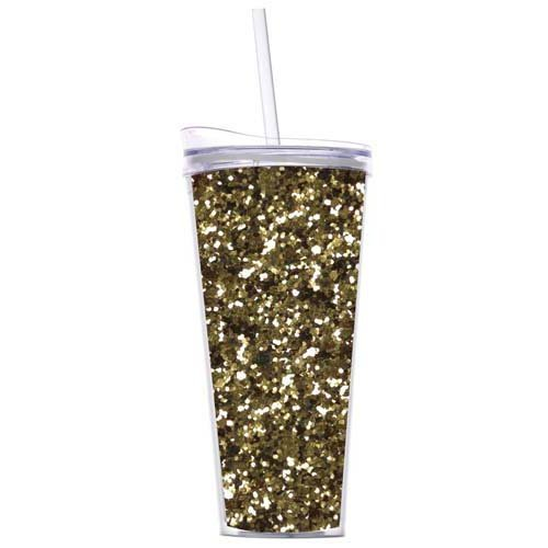 Glitter 22oz Double Wall Tumblers with Straw By Slant Collections (Gold Glitter)