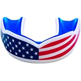 Oral Mart Adult Sports Mouth Guard (USA Flag & Vampire Fangs & 13 Colors) - Adult Mouthguard for Football, Boxing, Karate, Ma
