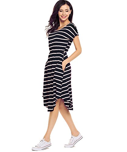 Halife Womens Striped Tunic Dress Casual Swing Short Sleeve Pockets T Shirt Loose Dress Dark Blue L
