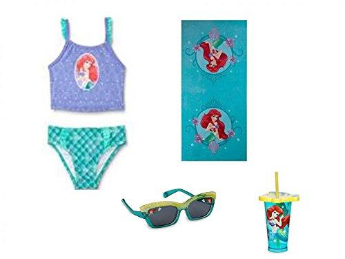 Little Mermaid Ariel 2 Piece Swimsuit, Towel, Sunglasses PLUS Tumbler - Sunglasses Suit With
