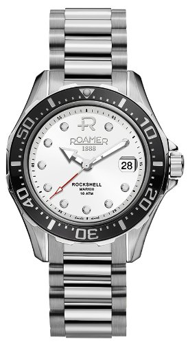 Roamer Men's Rockshell Mark III 42mm Steel Bracelet & Case Automatic White Dial Watch 220633-41-25-20