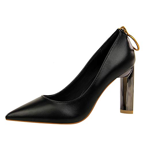 FLYRCX Europäische Europäische Europäische Metallschnalle Lackleder Spitze High Heels Damen dick mit Einzelschuhen Arbeitsschuhe b663aa
