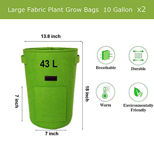 YUKING Potato Grow Bags 2 Pack 10 Gallon Aeration Fabric Pots, Potatoes Growing Containers with Handles, Plants Planting Bag Planter for Garden,Vegetables, Etc(Green)