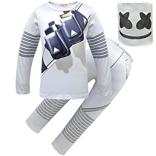 Boys DJ Marshmello Costume +DJ Mask Helmet Cosplay Costume Carnaval Halloween Prop Latex Masks for Boy (DJ Costume+ Mask, 140CM)