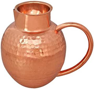 PARIJAT HANDICRAFT Handmade New Design Copper Water Jug Capacity 64 Ounce Approx