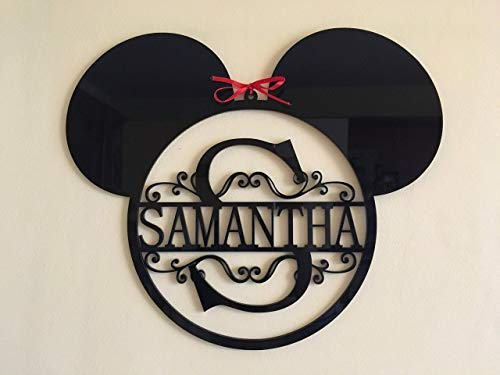 Mickey Mouse Ears Monogram Personalized Name Acrylic Sign Split Letter Wall Door Hanger Custom Disney Wreath Nursery Decor Kids Bedroom Metal Hanging Signs Minnie Mouse Gift for Kids Birthday -