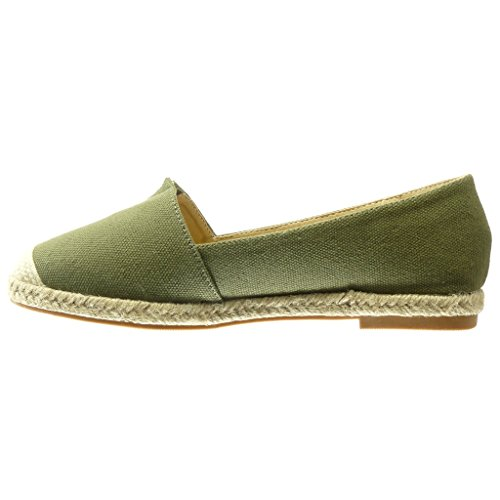 Zapatos Espadrilles Mocassins plano Verde mujer para bordado moda de Angkorly Tacón Cordón cm Slip on 0 rqwFXrT