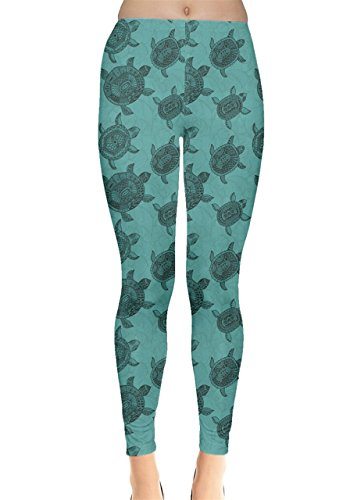 Turtle Leggings - CowCow Womens Turquoise Pattern Turtles Leggings, Turquoise - S