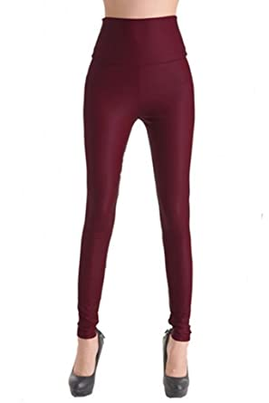 Lotsyle Women's High Waist Faux Leather Leggings at Amazon Women's ...