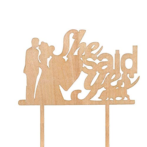 She Said Yes Cake Topper with Kiss Bride and Groom - Rustic Wedding Cake Topper -