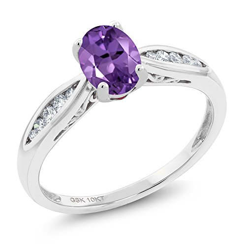 - 10K White Gold 0.82 Ct Oval Purple Amethyst and Diamond Engagement Ring (Size 7)