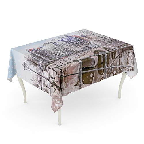 Tarolo Rectangle Tablecloth 60 x 84 Inch City Traditional Dutch Old Houses and Bridges Canals in Amsterdam on Snowy Winter Night The Netherlands Christmas Table ()