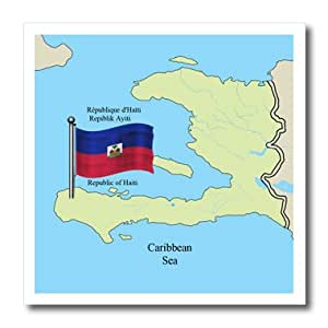 ht_63254_3 777images Flags and Maps - North America - The flag and map of Haiti with the Republic of Haiti printed in English, French and Haitian Creole. - Iron on Heat Transfers - 10x10 Iron on Heat Transfer for White Material