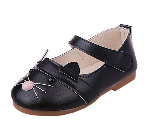 Cute Cat Shoes For Toddler Girls PU Leather Mary Jane Black 30