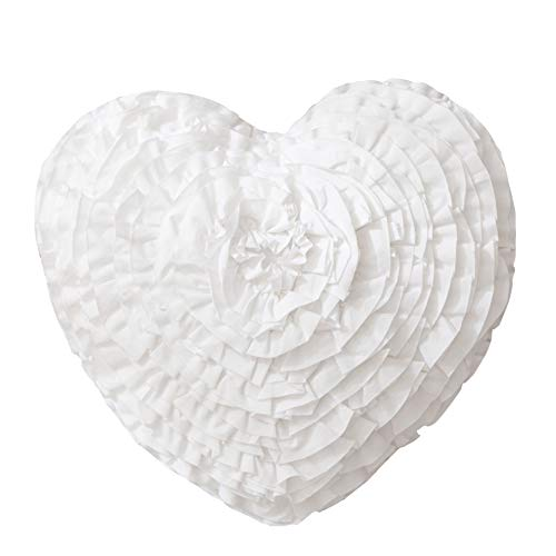 Hand Crafted Love Heart Shaped Ruffled Floral Decorative Throw Pillow Cushions Wedding Girl's Bedroom Decor 17