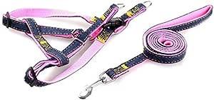 Pet Dog Harness Collar Leash Set Adjustable Denim Traction Belt for Pet Training pink