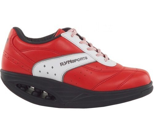 RYN LADIES RYN103 CASUAL ROCKER SOLE WALKING SHOE UK4-7 (8 UK 41EU, RED LEATHER)