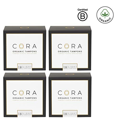 Cora Organic Cotton Tampons with BPA-Free Plastic Compact Applicator; Chlorine & Toxin Free - Light (72 Count)