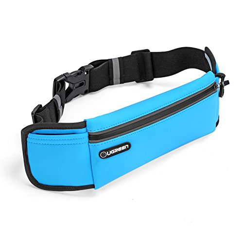 UGREEN Running Belt Pouch Runners Fanny Pack Waist Bag for iPhone X, iPhone 8, iPhone 7 Plus, iPhone 6S 6 Plus, Samsung Galaxy S8 S7 S6 Edge, Waterproof and Reflective (Blue)