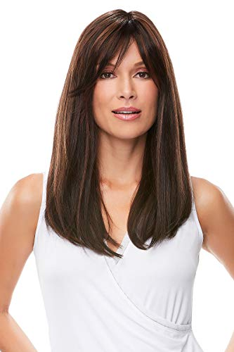 Camilla Wig Color 4/27/30 GERMAN CHOCOLATE - Jon Renau Wigs Long Layers Double Monofilament Top Hand-Tied Cap Side Swept Bangs Women's Synthetic ()