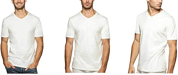 Buffalo David Bitton - Camiseta de algodón suave, elástica, cuello en V, sin etiqueta, color blanco, 3 unidades: Amazon.es: Ropa y accesorios