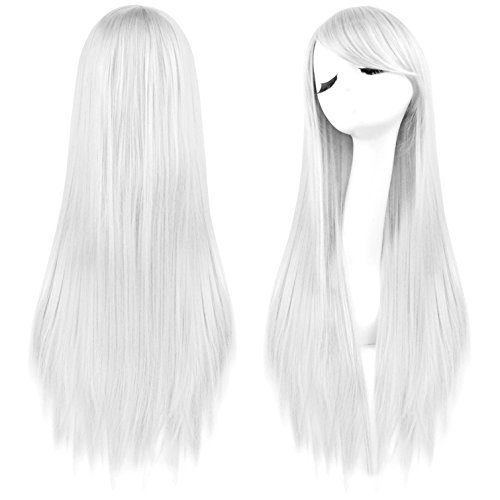 Rbenxia 32'' Women's Cosplay Wig Hair Wig Long Straight Costume Party Full Wigs White