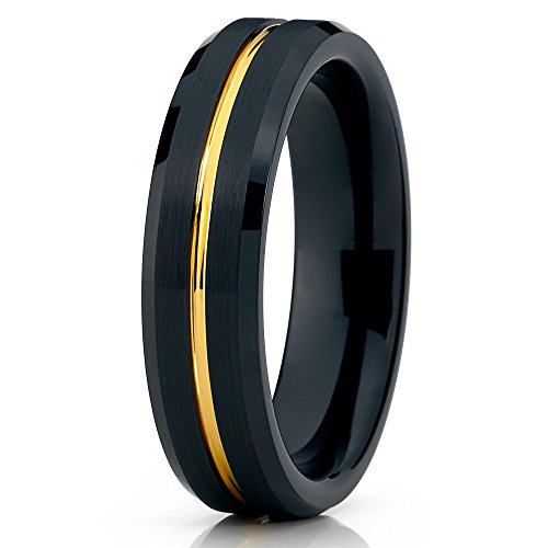 Silly Kings 6mm Yellow Gold Tungsten Carbide Wedding Band Black Brushed Grooved Ring Comfort Fit Modern (Mens Ring Modern)