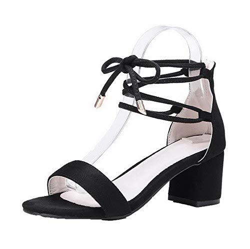 Esmerilado Cordones Negro Sandalias GMXLB010597 Tacón Sólido Mujeres de AgooLar Vestir Medio 7ax7In