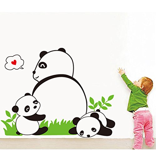 Voberry Home Decor Mural Vinyl Wall Sticker Removable Cute Panda Mom and Kids Family Nursery RoomWall Art Decal for Kids Room