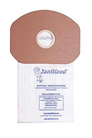 Janitized JAN-KAPV6-2(10) Paper Premium Replacement Commercial Vacuum Bag for Sanitaire, Tornado Pac-Vac, Koblenz, Tennant, Powr-Flite Backpack Vacuum ...
