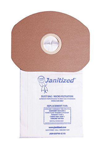 Janitized JAN-KAPV6-2(10) Paper Premium Replacement Commercial Vacuum Bag For Sanitaire, Tornado Pac-Vac, Koblenz, Tennant, Powr-Flite Backpack Vacuum Cleaners (10 - 10 (Apc Backpack)