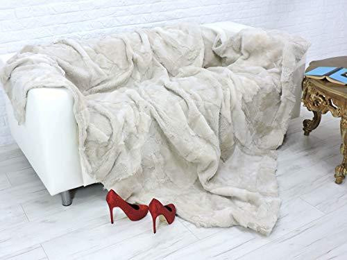 (CuddlyDreams Ash Colour Lambskin Fleece Throw Blanket   Genuine Italian Lambskin Bed Sofa Cover   86