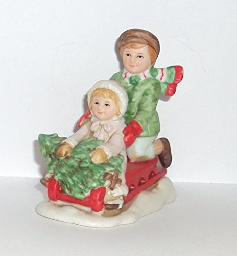 1990 Geo Z Lefton 07826 Colonial Village Michael and Missy on Sled Figurine