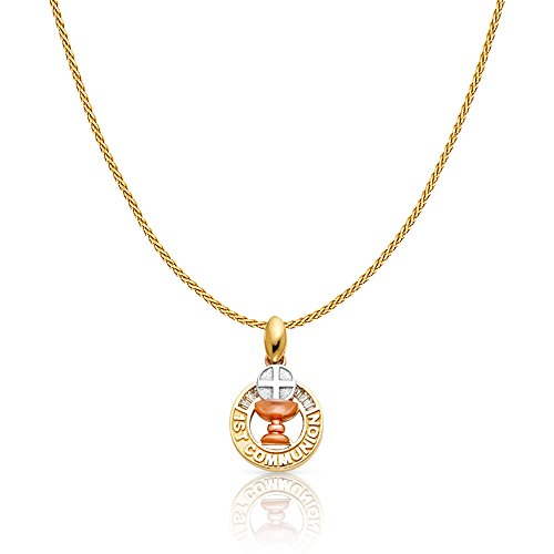 14K Tri Color Solid Gold Communion Charm Pendant with 0.9mm Wheat Chain Necklace - 22