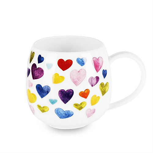 - Heart Shaped Mugs for Coffee Cute Ceramic Coffee Mug Heart Shaped Mug Colorful Bone China Coffee Cup Heart Gift for Women Mom Coworker Boss Friends (13oz)