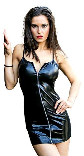 Sexy Partykleid aus Kunstleder / PVC mit Reißverschluss, Schwarz, Wet-Look, Clubwear - Large (14-16 UK | 42-44 EU)