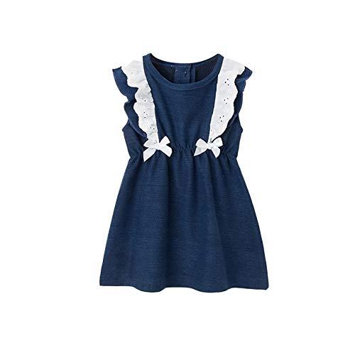 Rehomy Baby meisje jurk peuter mouwloos ronde hals strik jurk