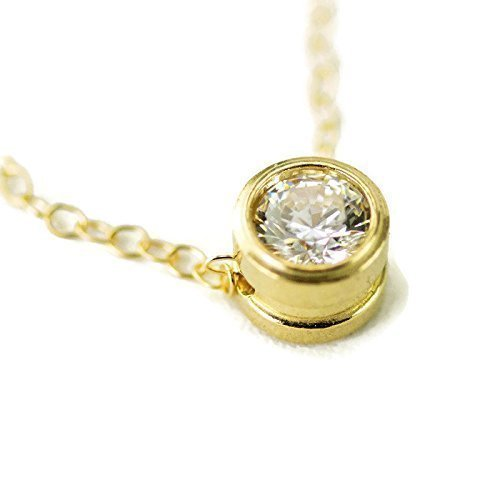 14k Gold Birthstone Solitaire Necklace - Gemstone of Your (14k Ruby Slide)