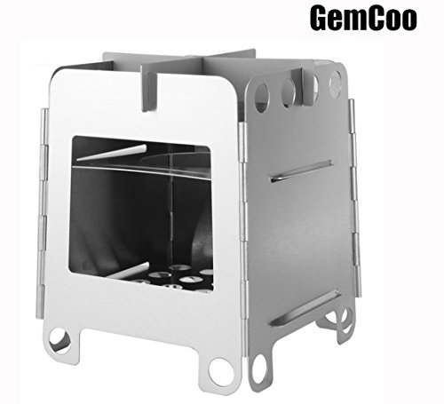 GemCoo Camping Stove Portable Stainless Steel Folding Wood Stove Pocket Stove for Outdoor Camping Cooking Picnic by GemCoo