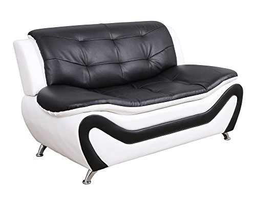 Beverly Fine Furniture F4501-3pc 3 Piece Aldo Modern Sofa Set, Black/White