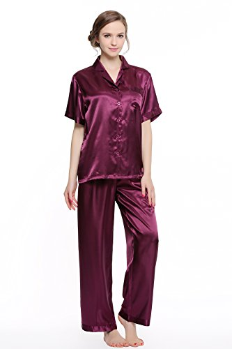 Sunrise Women's Short Sleeve Classtic Satin Pajama Set (Small, Purple)