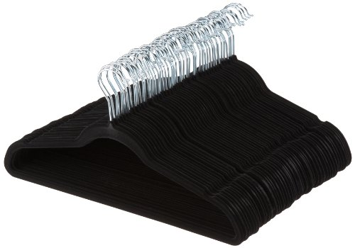AmazonBasics Slim, Velvet, Non-Slip Clothes Suit Hangers, Black/Silver – Pack of 50