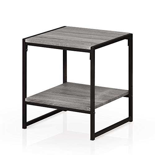 (Furinno FM4045ST-2GYW Modern 2-Tier End Table, French Oak Grey)