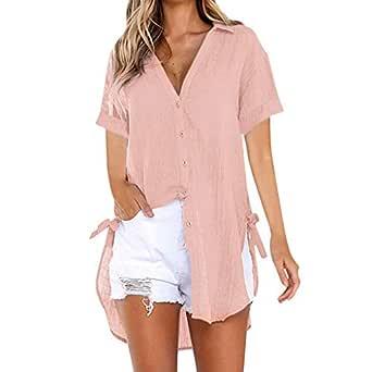 LINYIOU77 Womens Blouse Summer Womens Loose Tops Plus Size Button Long Shirt Dress Cotton Ladies Casual T-Shirt - Blue - Medium