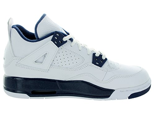 Nike Air Jordan 4 Retro BG Zapatillas de deporte, Niños Blanco / Azul (White / Legend Blue-Mdnght Navy)