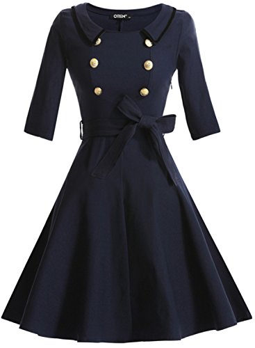 OTEN Women's 3/4 Sleeve Navy Style Skirt Belted Retro Swing Evening Dress, Large, Dark Blue
