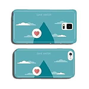 vector concept illustration of hands holding water drop cell phone cover case Samsung S6