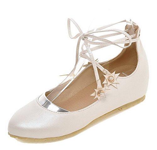 Puro Allacciare Donna Tonda Flats Bianco Ballet Trafilatura VogueZone009 Punta q6EnAwx