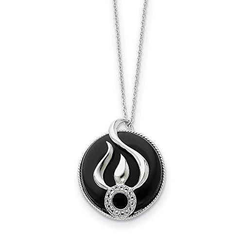 925 Sterling Silver Black Onyx Cubic Zirconia Cz Fear Less 18 Inch Chain Necklace Pendant Charm Inspirational Fine Jewelry Gifts For Women For Her