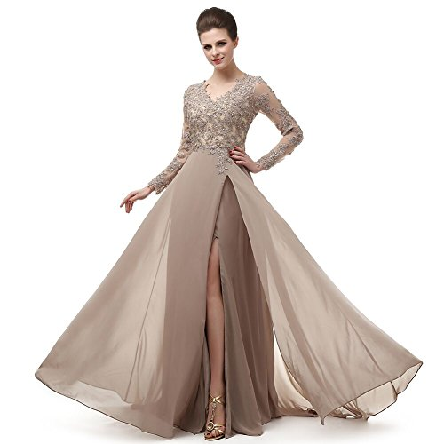 Long Sleeve Prom Dresses Long Front Slit French Lace Winter Cheap Bridesmaid Dresses 2018 Formal Dress MNQ170406-Khaki-US8